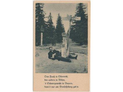 48 - Prachaticko, Třístoličník, oživená partie u st. hranice, ca 1935