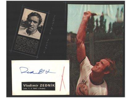 Zedník Vladimír (1947), profesionální tenista, sběratelský list s podpisem