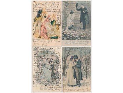 Sestava 4 ks milostných pohlednic, cca 1900