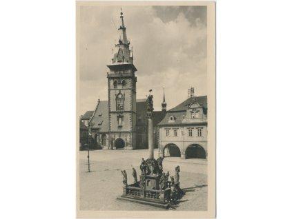 09 - Chomutov, Masarykovo náměstí s městskou věží, cca 1967