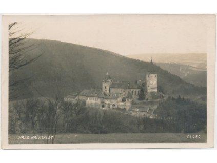 55 - Rakovnicko, hrad Křivoklát, pohled na hrad a okolí, cca 1930
