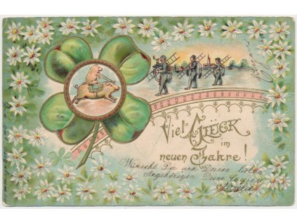 Přání k šťastnému Novému roku, čtyřlístek, kominíci, cca 1902