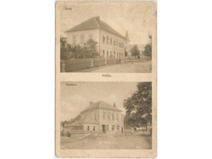 64 - Táborsko, Pořín, 2 - záběr, hostinec a škola...