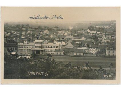 35 - Mělnicko, Všetaty, celkový pohled, cca 1936