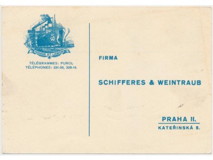Reklamní karta firmy Schifferes a Weintraub, neprošlé poštou
