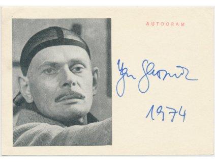 Skopeček Jan (1925 -2020) , herec, sběratelská karta s podpisem