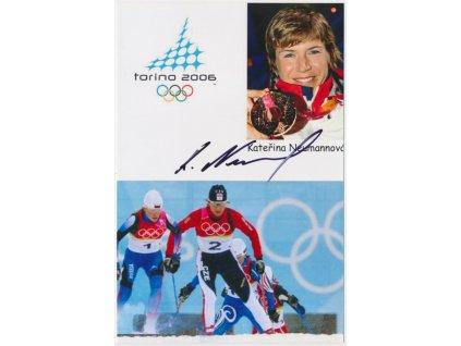 Neumannová Kateřina(1973), běžkyně na lyžích, fotografie s podpisem