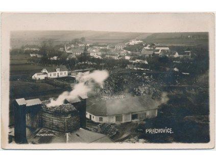 10 - Chrudimsko, Prachovice, cementárna a pohled na obec, cca 1930