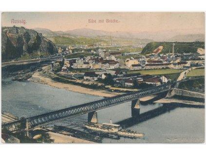 69 - Ústí nad Labem, celkový pohled na město, most, lodě...., cca 1909