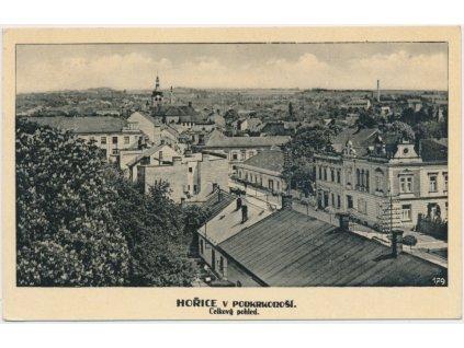 22 - Jičínsko, Hořice, celkový pohled na město, cca 1944