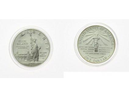 USA, 1 Dollar, 1986, Ellis Island, , Ag 0,999 , 26,8 gramu, stav 0/0