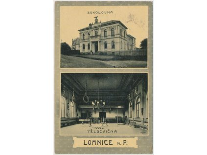 58 - Semilsko, Lomnice n. Popelkou, Sokolovna a tělocvična, cca 1914