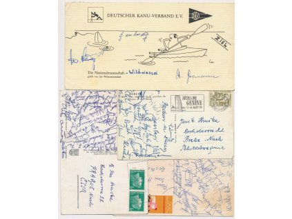 Kanoistika, 4 ks pohlednic s podpisy reprezentantů, 60/70-tá léta