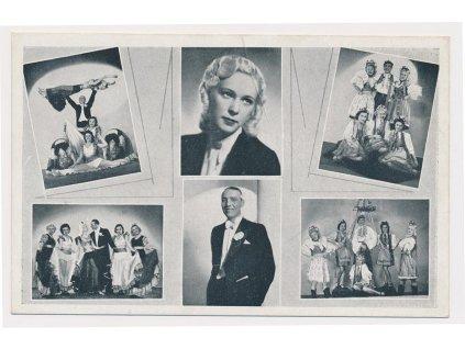 Soucha - balet, pražská varieté, oficiální pohlednice s podpisy členů