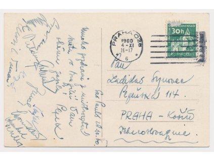Sport,odbijená,pohlednice zaslaná z MS v Brazílii, podpisy hráčů,1960