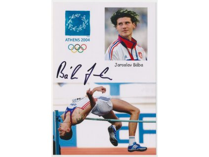 Bába Jaroslav(1984), atlet - skok do výšky, olympionik,foto s podpisem