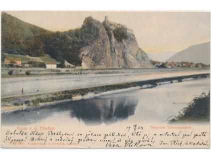 69 - Ústecko, Labské údolí, v pozadí hrad Střekov, cca 1904
