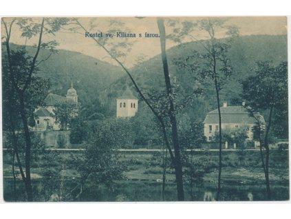 51 - Praha - západ, Davle, kostel sv. Kiliána s farou, cca 1906