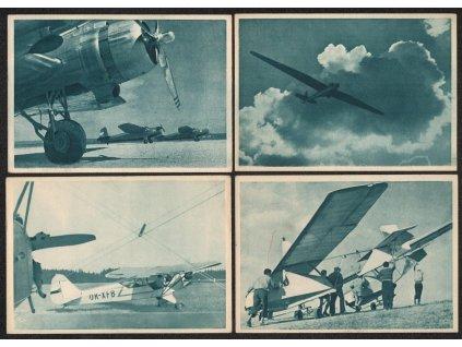 ČSR, sestava 7 - mi ks pohlednic s letadly z let cca 1930 - 1940