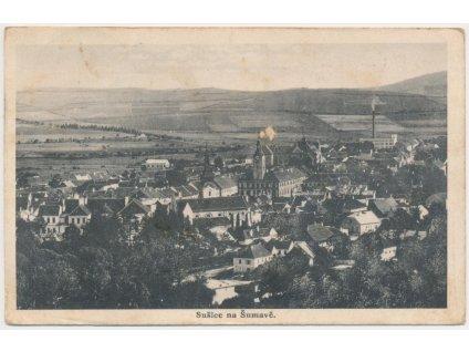 28 - Klatovsko, Sušice, celkový pohled na město, nákl. J. Pilař, 1926