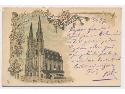 41 - Olomouc, litografie, Katedrála svatého Václava, cca 1897