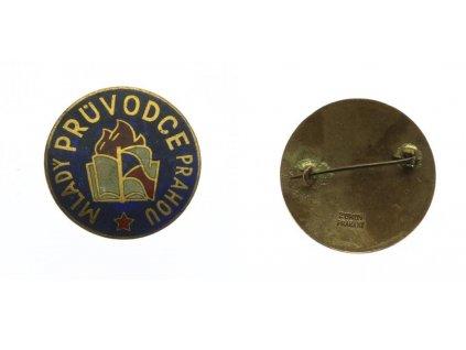 ČSSR, odznak Mladý průvodce Prahou, průměr 31mm, jehla, smalty