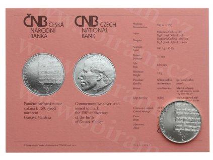 ČR, 200 Kč, Gustav Mahler, 2010, Ag 0,900, váha 13 gramů, kapsle
