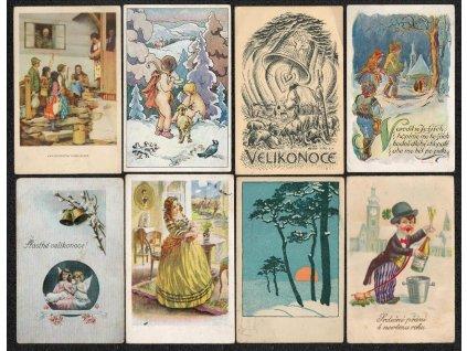 Sestava 24 ks námětových a blahopřejných pohlednic, velmi pestré...