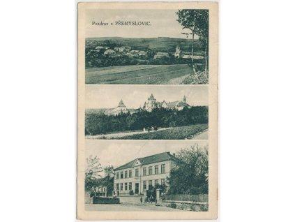 52 - Prostějovsko, Přemyslovice, 3 - záběr dominant obce, cca 1931