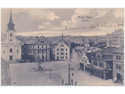 22 - Jičínsko, Nová Paka, oživené náměstí, Nakl. J. Pech, cca 1908
