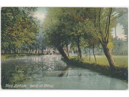 19 - Královéhradecko, Nový Bydžov, oživená partie od Cidliny, cca 1908