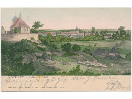 35 - Mělnicko, Kostelec nad Labem, pohled na město v r. 1840, cca 1900