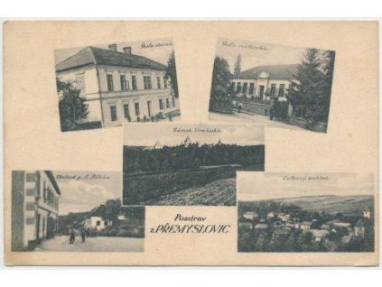 52 - Prostějovsko, Přemyslovice, 5 - ti záběr, obchod A. Poláka..,1928