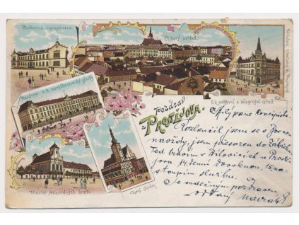 52 - Prostějov, 6 - ti záběrová litografie, nemocnice, kasárna.., 1898