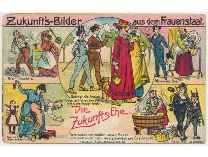 Frauenstaat, satirická pohlednice s výjevy Ženského státu, ojedinělé