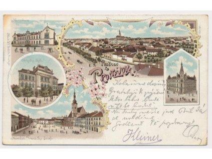 52 - Prostějov, 5 - ti záběrová litografie, škola, nemocnice..,ca 1898