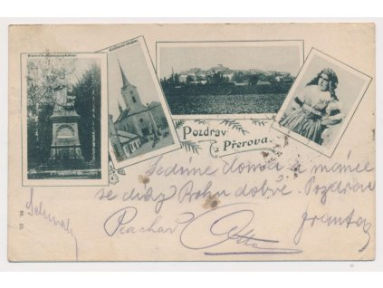 53 - Přerov, 4 - záběr , celk. pohled, klášterní chrám, pomník...,1899