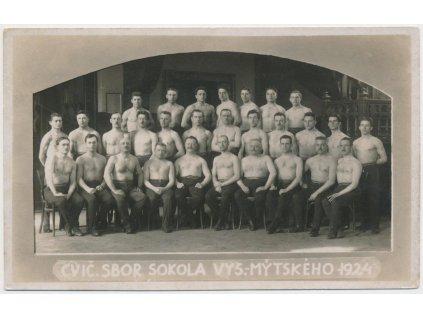 70 - Orlickoústecko, Vysoké Mýto, cvičitelský sbor Sokola r. 1924