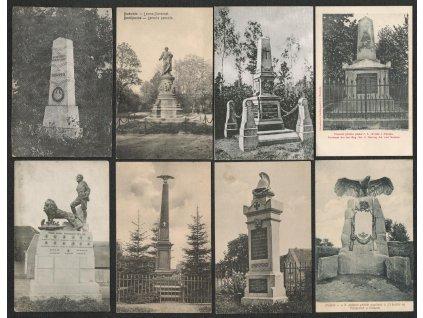 Sestava 16 - ti ks pohlednic pomníků, pěkné stavy, každá jiná...