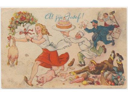 Blahopřejná pohlednice - Ať žije Josef, cca 1943