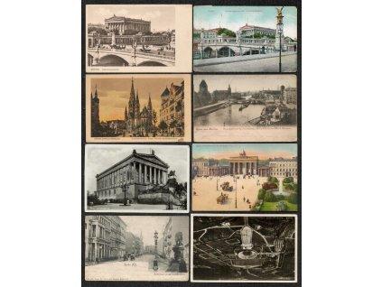 Německo, Berlín, Sestava 14 - ti ks pohlednic města, každá jiná...