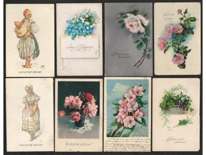 Sestava 16 - ti ks blahopřejných pohlednic, každá jiná, pěkné stavy...
