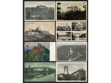 Sestava 18 - ti ks pohlednic s námětem hradů, zámků a zřícenin
