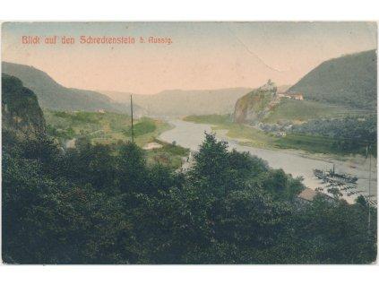 69 - Ústecko, Střekov, partie s výhledem na řeku Labe a hrad, cca 1904