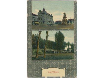 40 - Nymbursko, Poděbrady, 2 - záběr, náměstí, park, cca 1905