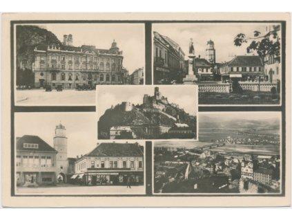 Slovensko, Trenčín, 5 - ti záběr dominant města, cca 1946