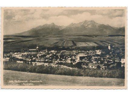 Slovensko, Kežmarok, celkový pohled na město - panorama, cca 1935