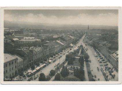 Slovensko, Prešov, panorama náměstí a města, cca 1939