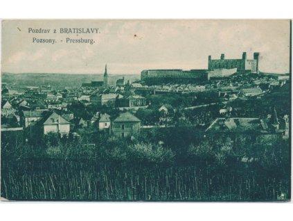 Slovensko, Bratislava, pohled na hlavní město SK, cca 1919