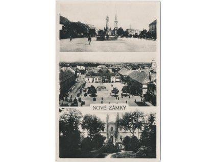 Slovensko, Nové Zámky, 3 - záběr, náměstí, zámek..., cca 1930